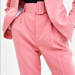 8dbb72ec NEW Zara Pink Belted High Waist Trouser Pants L XL NWT